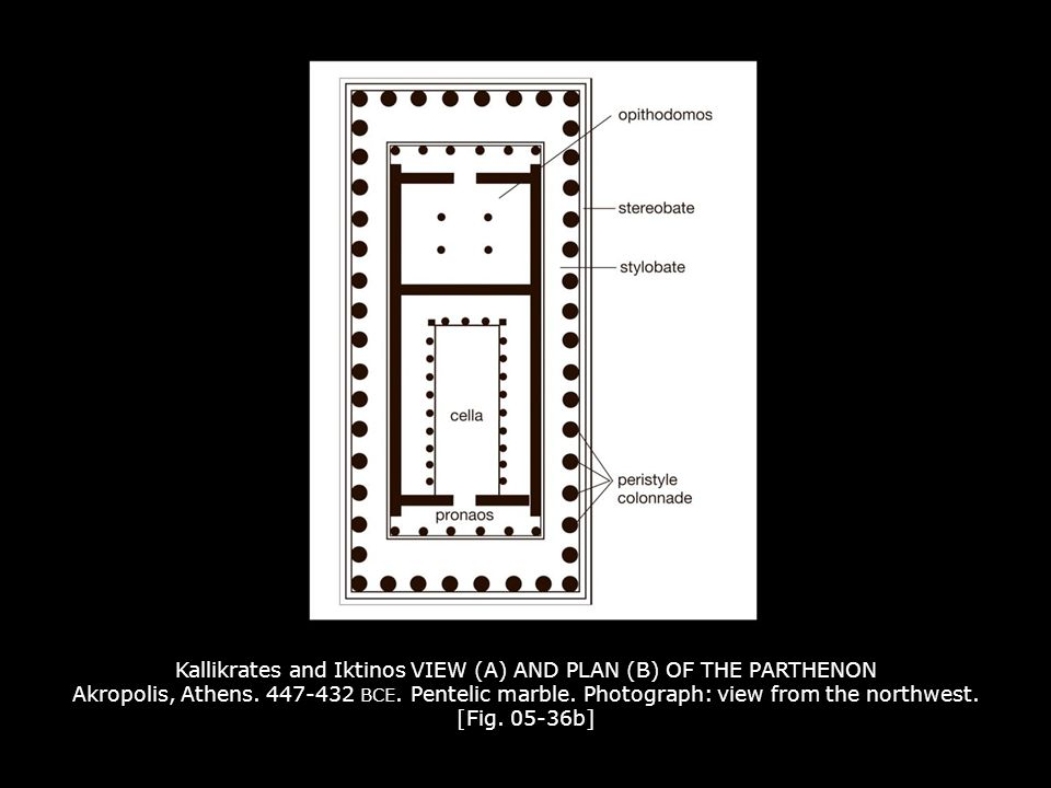 Kallikrates and Iktinos VIEW (A) AND PLAN (B) OF THE PARTHENON Akropolis, Athens. 447-432 BCE. Pentelic marble. Photograph: view from the northwest. [Fig. 05-36b]